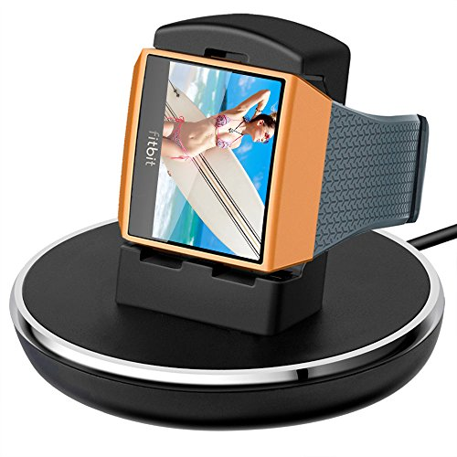 Compatible Fitbit Ionic Charger, Epuly Compatible Fitbit Ionic Accessories Women Men Charging Stand/Dock/Station/Holder/Cradle 3 Feet Charging Cable Compatible Fitbit Ionic Smartwatch Black by Epuly