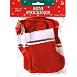 """Arts & Crafts : Amscan Mini Stocking Value Pack Made of Felt (6 Pack), 5"""" Each, Red/White"""