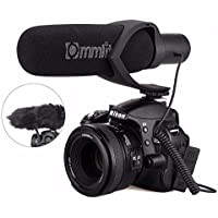 EACHSHOT CoMica Electrit Super-Cardioid Directional Condenser Shotgun Video Microphone for Video and Interview with Nikon Canon Sony Camera, Camcorder (3.5mm TRS Jack) Black
