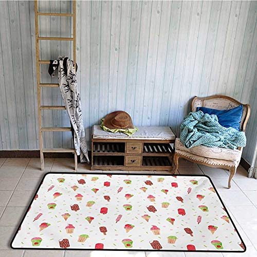 Non-Slip Floor mat,Summertime Inspired Watercolor Pattern with Yummy Dessert Ice Lolly and Cone 4'x6',Can be Used for Floor Decoration by BarronTextile (Image #1)