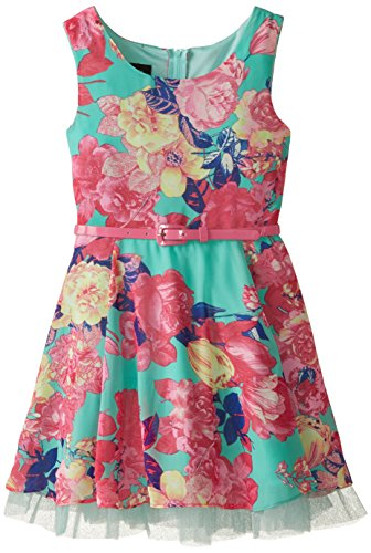 Amy Byer Big Girls' Print Chiffon Dress with Mesh, Mint Floral, 10