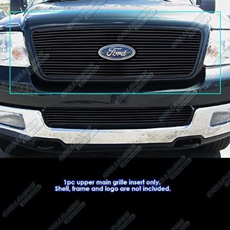 APS Fits 2004-2008 Ford F-150 Honeycomb Style Upper Stainless Black Billet Grille #F65727J