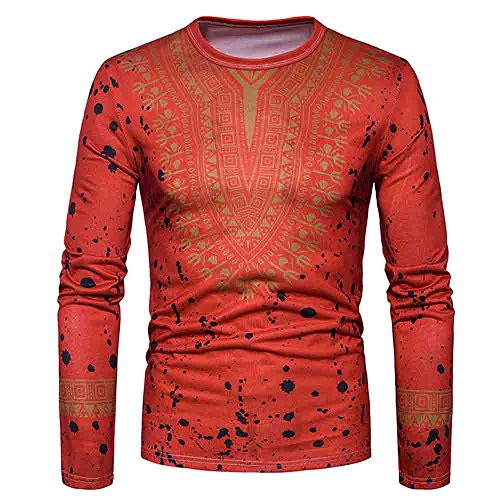(HGWXX7 T-Shirt Men Casual African Print Long Sleeved O-Neck Pullove Blouse Top (M, Red))