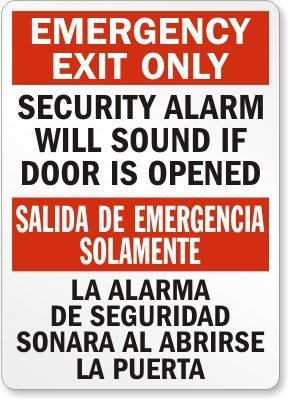 Emergency Exit Only Security Alarm Will Sound If Door Is ...