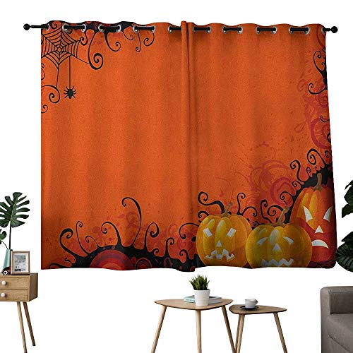 NUOMANAN Customized Curtains Spider Web,Three Halloween Pumpkins Abstract Black Web Pattern Trick or Treat, Orange Marigold Black,Tie Up Window Drapes Living Room -