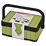Singer 07292 Pin Stripes Vintage Sewing Basket Notions, Green