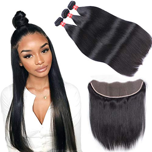 Haha Brazilian Straight Hair 3 Bundles With Frontal 13x4 Ear to Ear Lace Frontal Closure With Bundles Unprocessed Virgin Human Hair Bundles With Frontal Natural Color 10 12 14+8 Free Part (Ear To Ear Lace Frontal With Bundles)