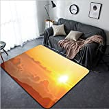 Vanfan Design Home Decorative Sunrise from Haleakala Crater in Maui Hawaii Modern Non-Slip Doormats Carpet for Living Dining Room Bedroom Hallway Office Easy Clean Footcloth