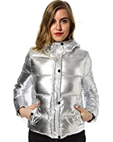 Women winter jackets Short warm coat Silver metal color bread style New ladies parka winterjas dames