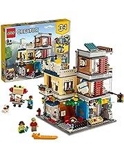 LEGO 31097 Creator 3-in-1 set stadshuis met dierentuin & café, bouwset met 3 minifiguren en dierfiguren: hond, tukaan en muis