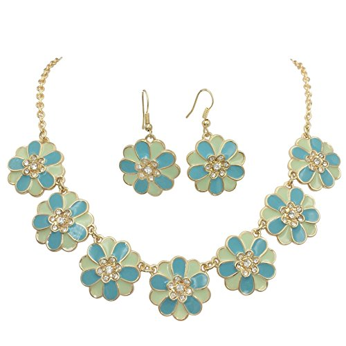 7 Daisy Flower with Rhinestones Cluster Gold Tone Boutique Statement Necklace & Earrings Set (Blue Tones)