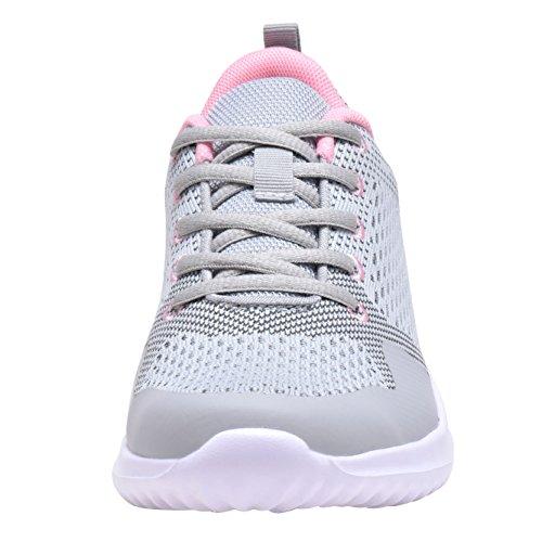 COODO Damen Leichte Turnschuhe Casual Athletisch Laufende Wanderschuhe 1-Grau / Pink