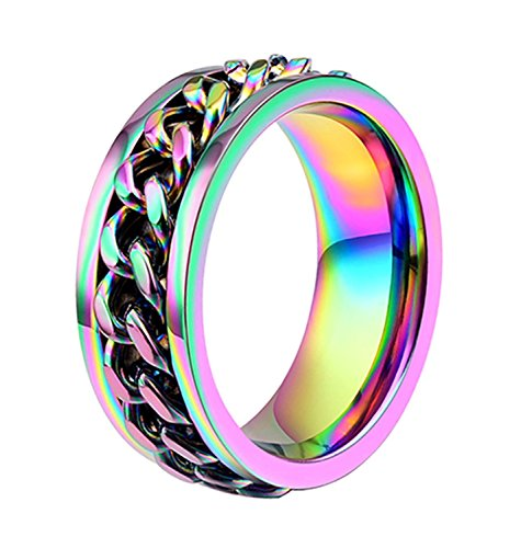 Chain Spinner (ALEXTINA Men's Women's 8MM Rainbow Stainless Steel Chain Spinner Ring Wedding Band Size 7)