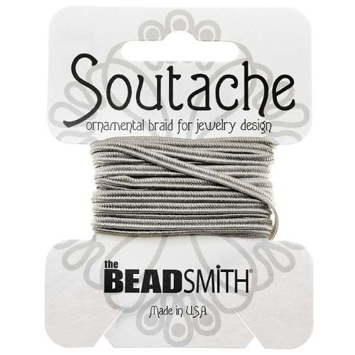 BeadSmith Soutache Braided Cord 3mm Wide - Silver Gray (3 Yard Card) by Beadsmith (3 Embroidery Card)