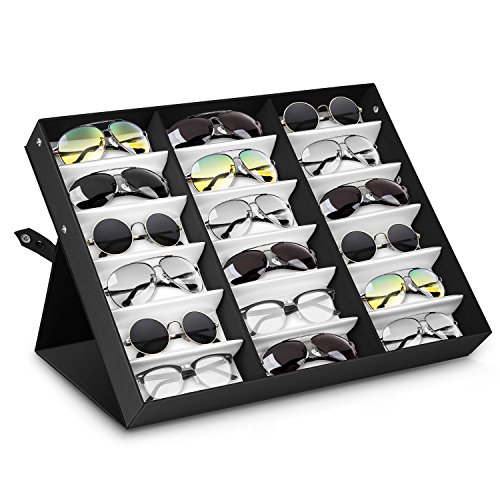 Amzdeal Sunglasses Display Case 18 Slot Sunglass Eyewear Display Storage Case Tray Gift for Him - Display Trays Sunglasses
