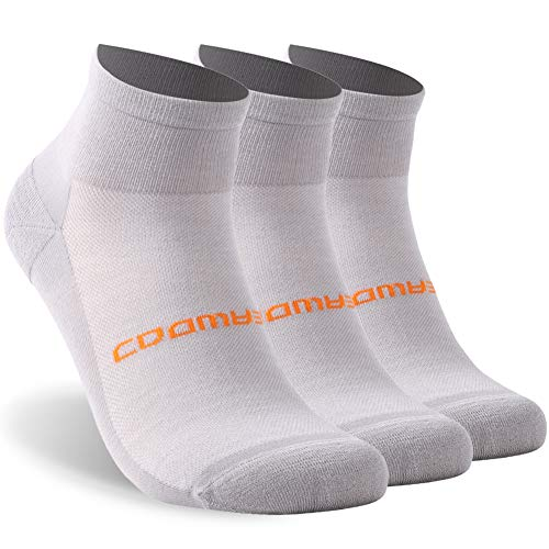 ZEALWOOD Unisex High Performance Cushion No Show Athletic Running Cycling Socks 3 Pairs-Light Grey M