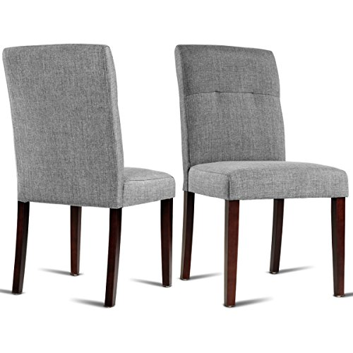 Giantex 2 Pcs Dining Chair Living Room Bedroom Home Study Armchairs Modern Side High Back Chairs Linen Fabric Upholstered Solid Wood Legs (Gray) For Sale