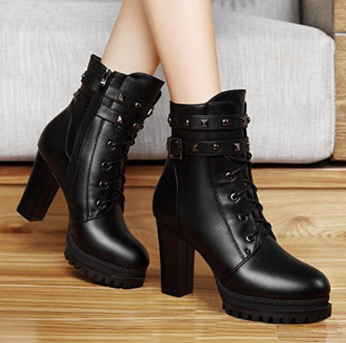 NSXZ The new fashion round head with rivets thick boots BLACK-90160CM UlnqrKaK