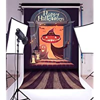 Laeacco Vinyl 6x8FT Photography Background Happy Halloween Ghost Scary Night Candle Wood Haunted House Window Vintage Floor Stripes Scene Grimace Pumpkin Lantern Children Track Treat Backdrops