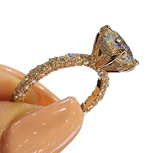 Tiowea Womens Copper Rhinestone Round Rings Engagement Bridal Wedding Rings Rings from Tiowea