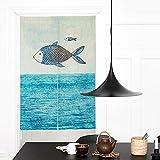 KARUILU home Japanese Noren Doorway Curtain Tapestry 33.5'' Width x 47.2'' Long (Big Fish Little Fish)