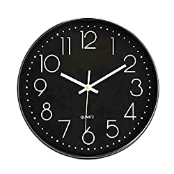 Foxtop Black Wall Clock, Large Silent Non Ticking Wall Clock Battery Operated 12 Inch Round Easy to Read Home/Office/School Clock