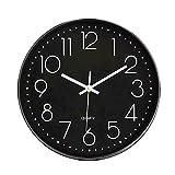 Foxtop 12 Inch Indoor Non-Ticking Silent Quartz Modern Simple Wall Clock Digital Quiet