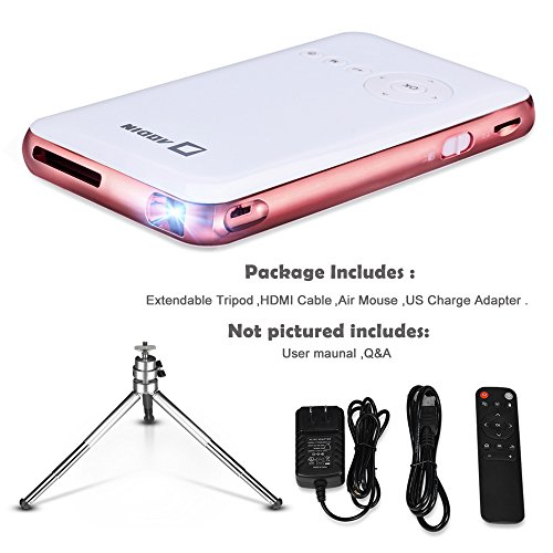 Aodin android portable mini projector with 120 inch for Portable projector with hdmi input