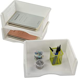 Sandmovie 3 Tier Office Filing Magazine File Document Tray Organiser Stackable, White