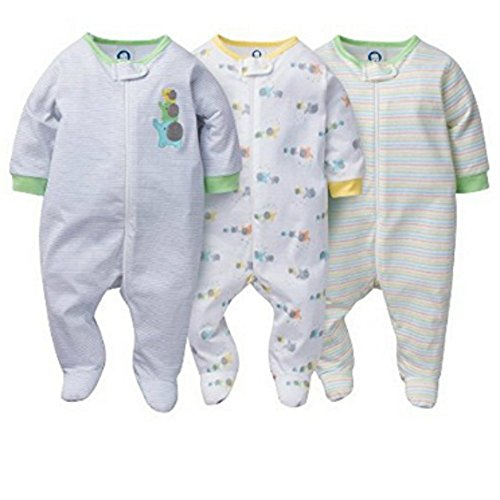 867014aa3c Gerber Onesies Baby Boy Sleep N  Play Sleepers 3 Pack – Blue Berry ...