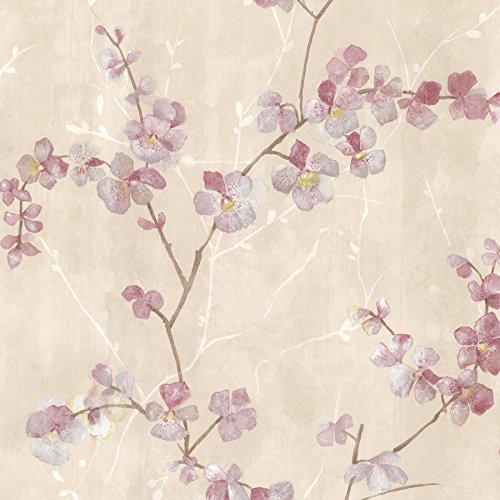 Brewster 347-20100 Chapman Cherry Blossom Trail Wallpaper, Pink