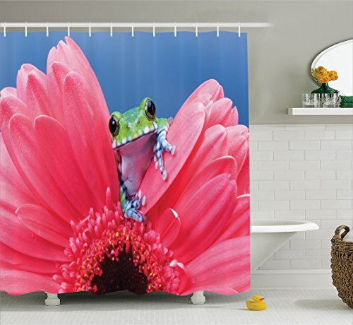 Ambesonne Animal Decor Shower Curtain Set, Cute Tiny Little Tree Frog On Gerbera Flower Magical Nature Moments Shoots Art Photo, Bathroom Accessories, 69W X 70L Inches, Pink Green ()