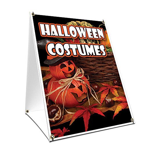 A-Frame Sidewalk Halloween Costumes Sign with Graphics On Each Side | 18