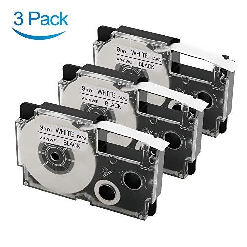 3 Pack Replace Casio XR-9WE2S XR-9WE Label Maker Tape Compatible with Casio KL-120 KL-60 KL60SR KL100 KL750 KL780 KL7200 KL7000 Label Makers, Black on White, 3/8 inch (9mm) x 26 feet (8m)