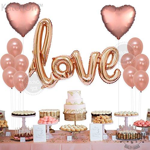 [해외]로즈 골드 러브 풍선 키트 - 발렌타인 데이 장식 및 그 또는 그녀를위한 선물 - 로즈 골드 호일 심장 풍선 - 로즈 골드 장식 - 발렌타인 데이/Rose Gold Love Balloons Kit - Valentines Day Decorations and Gift for Him or Her - Rose Gold Foil ...