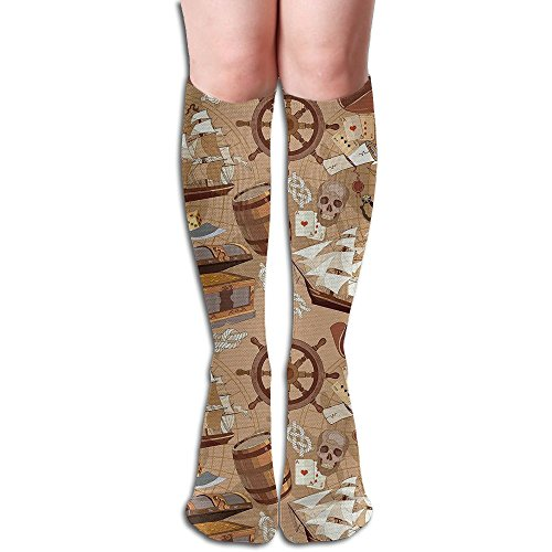 CXCcoco Pirates Funny Womens Socks Thign High Tube Boot Socks Look Knee High Pirate Boots