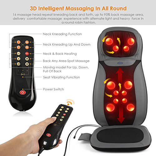 INTEY Shiatsu Massage Chair Pad Back Massage Chair with Heat / Vibrating Functions for Home Office Car by INTEY (Image #1)