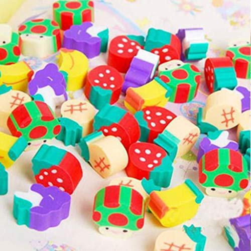 100pcs New Novelty Students Children Lovely Colorful Fruit Pencil Rubber Eraser kids Gifts Wholesale and Retail by PPL21 (Image #1)