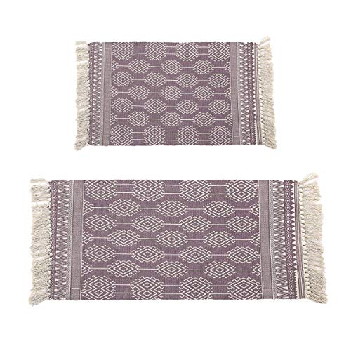 Pauwer Purple Cotton Area Rug Set 2 Piece 2'x4.2'+2'x3' Machine Washable Printed Cotton Rugs with Tassel Hand Woven Cotton Rug Runner for Living Room, Laundry Room, Entryway (Rag Purple Rug)