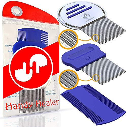 Head LICE Comb Set for Fast Nit and Lice Removal - Best Results on All Different Types of Hair from HandyHealer (Best Way To Remove Lice Nits)