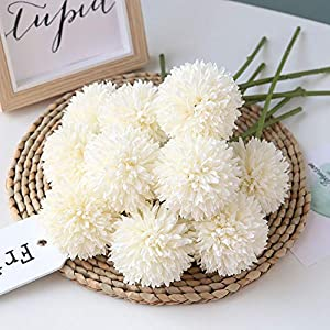 Homyu Artificial Flowers Chrysanthemum Ball Flowers Bouquet 10pcs Present for Important People Glorious Moral for Home Office Coffee House Parties and Wedding No Craft Paper(Milk White) 10