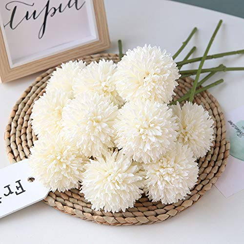 Homyu Artificial Flowers Chrysanthemum Ball Flowers Bouquet 10pcs Present for Important People Glorious Moral for Home Office Coffee House Parties and Wedding No Craft Paper(Milk White) (Fake Balls Box)