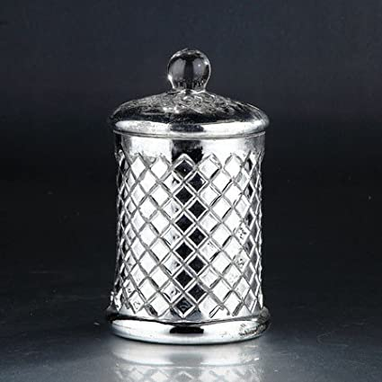 Glass Jar with Lid44; Silver Diamond Star 51347 8.5 x 5.5 in
