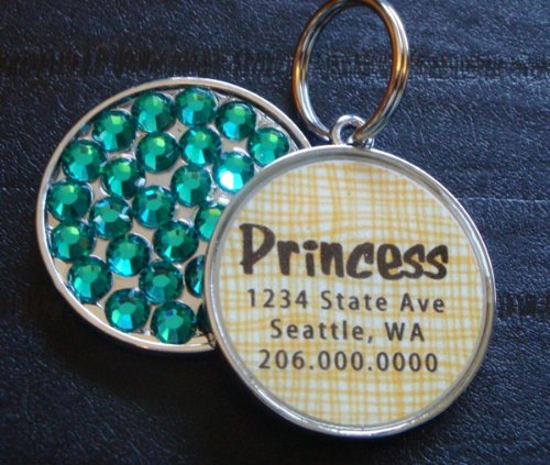 Basket Weave Yellow Rhinestone Pet ID Tag **YOU CHOOSE THE C