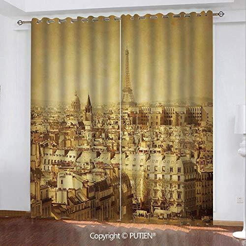 (Satin Grommet Window Curtains Drapes [ Eiffel Tower,Classic Photo of Eiffel Tower Paris National Landmark Old Album Memories Vintage,Brown ] Window Curtain for Living Room Bedroom Dorm Room)