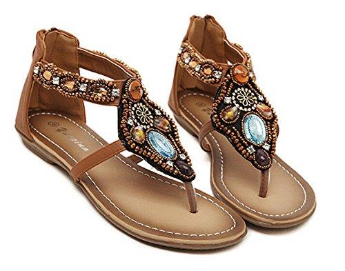 per signore in piatti infradito sandali rilievo le Marrone Fortuning's JDS Gladiator infradito Elegante wEX8OqznP