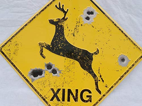 DEER CROSSING SIGN/BULLET HOLES/Rustic Hunting Cabin Lodge Street Road Decor (Hole Street Sign)