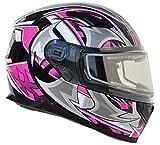 Vega Helmets Ultra Electric Snow Unisex-Adult Full Face Snowmobile Helmet with Heated Shield (Pink Shuriken Graphic, Medium)