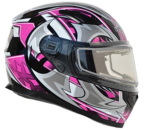 Vega Helmets Ultra Electric Snow Unisex-Adult Full Face Snowmobile Helmet with Heated Shield (Pink Shuriken Graphic, Medium) (Best Ventilated Full Face Motorcycle Helmet)