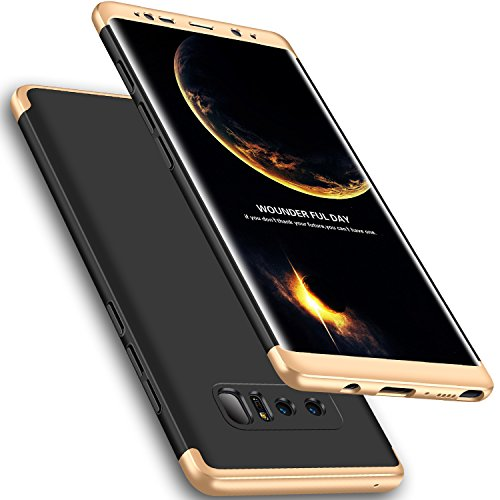 Galaxy Note 8 Case, Wellerly 3 in 1 Ultra Slim Hard PC Premium Case Hybrid Anti Fingerprint Scratches Soft Grip 360 Degree Full Body Protection Cover for Samsung Galaxy Note 8 (Black+Gold)